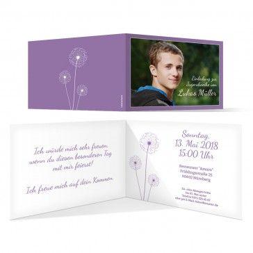 jugendweihe einladungskarten - pusteblume in lila #