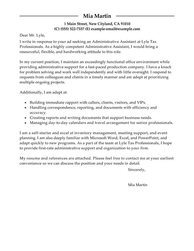 Administrative Assistant Advice The Cover Letter    Letter