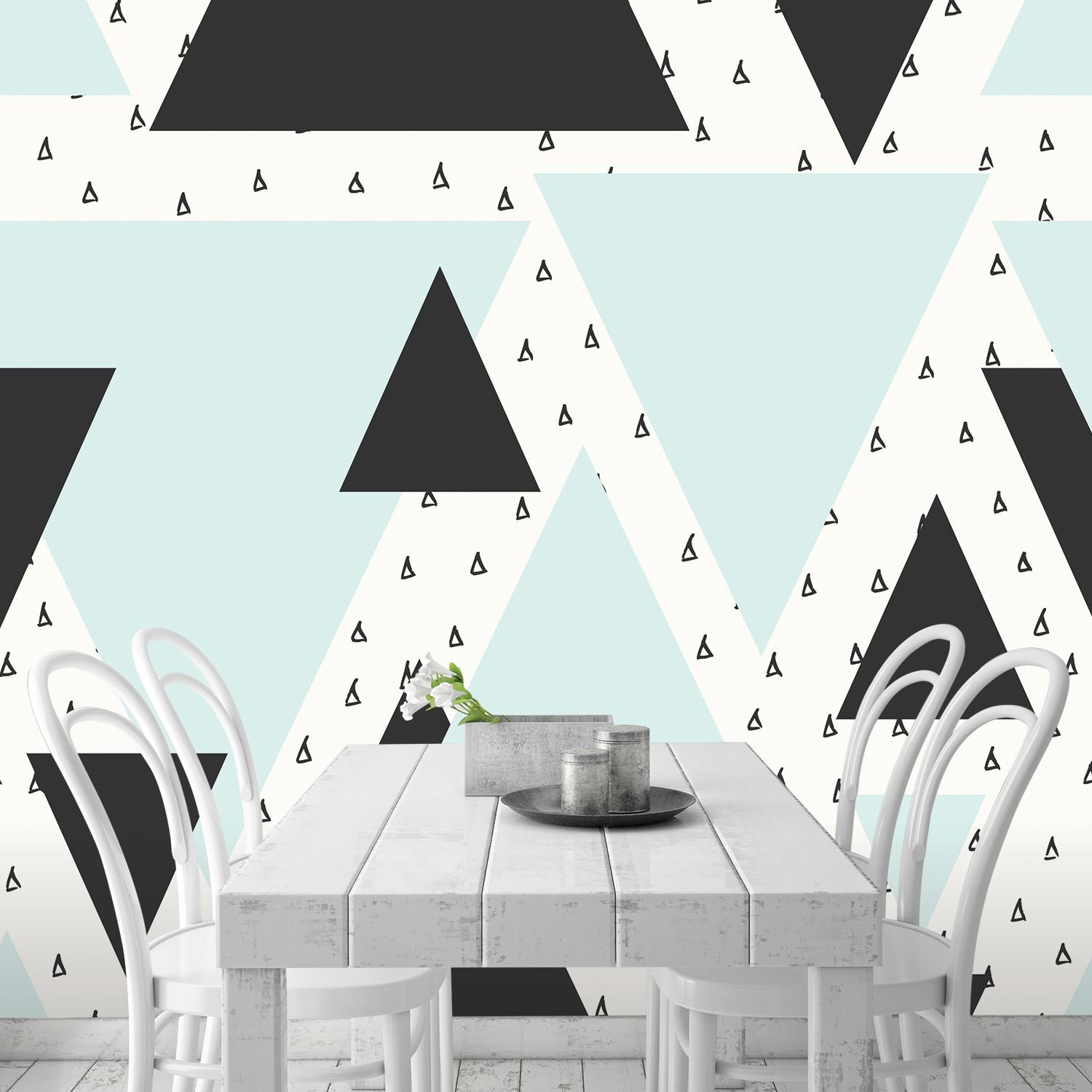 Black and Mint Triangle Wallpaper in 2020 Contemporary
