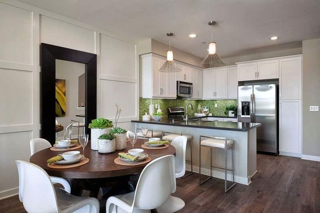 sleek and contemporary kitchens are fit for entertaining on Living Dining Combo Small Space id=14836