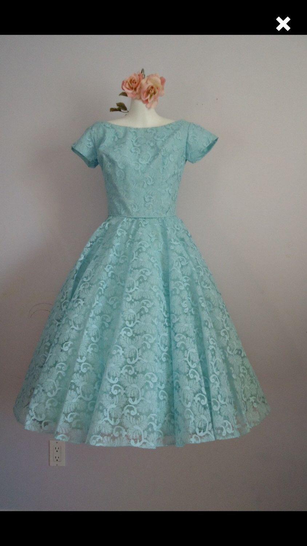 True Vintage 1950s Blue Dress Lace Blue Cocktail Prom Dress 50s ...