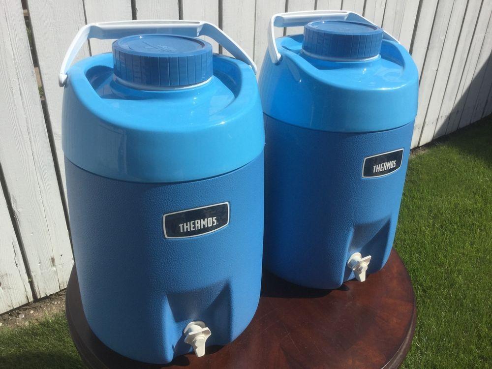 852edcd9cb Vintage Baby Blue Thermos Coleman Large 3 Gallon Water Cooler Picnic Jug w  Box | eBay