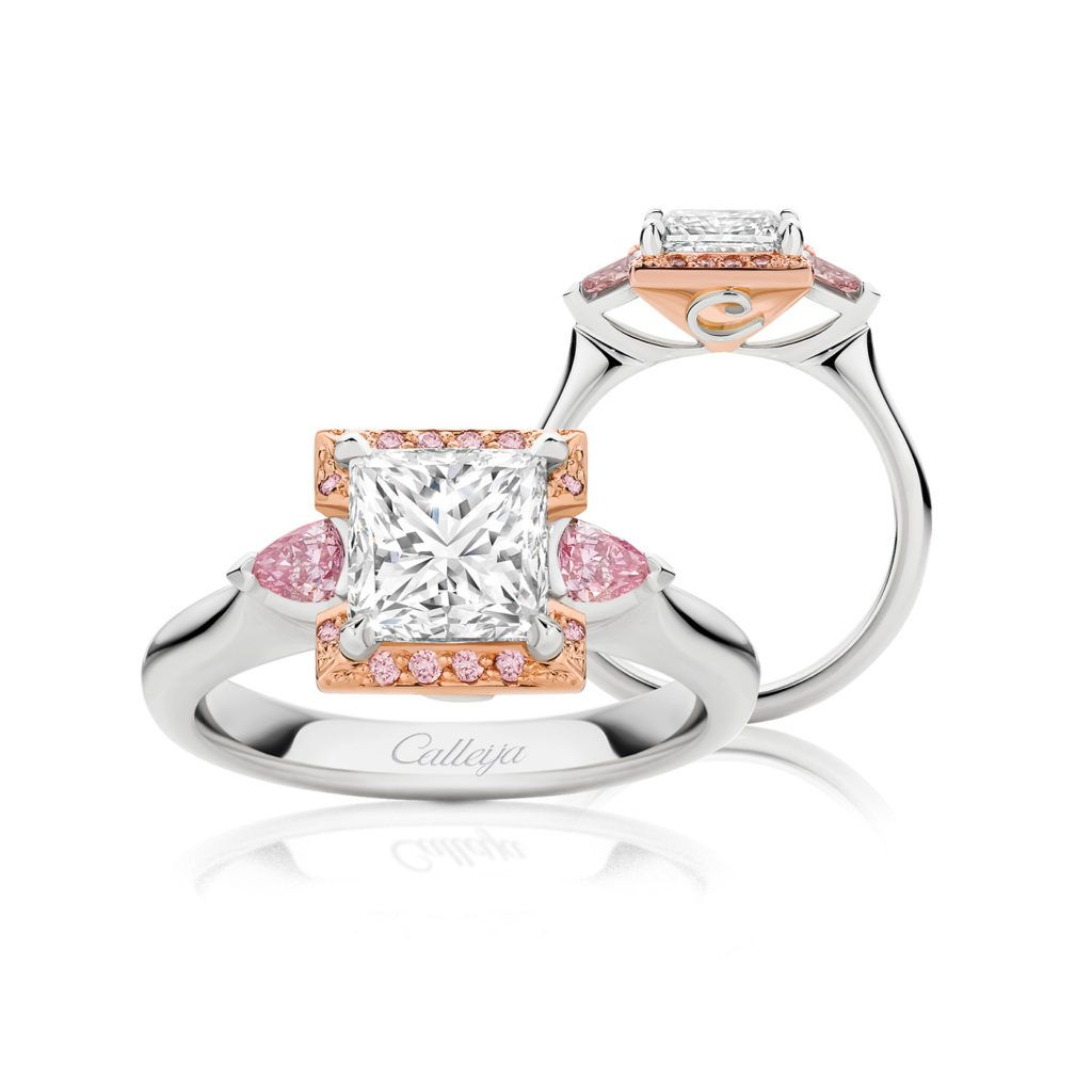 7903177f1a585 Sonata Princess Cut White and Argyle Pink Diamond Ring | Calleija ...