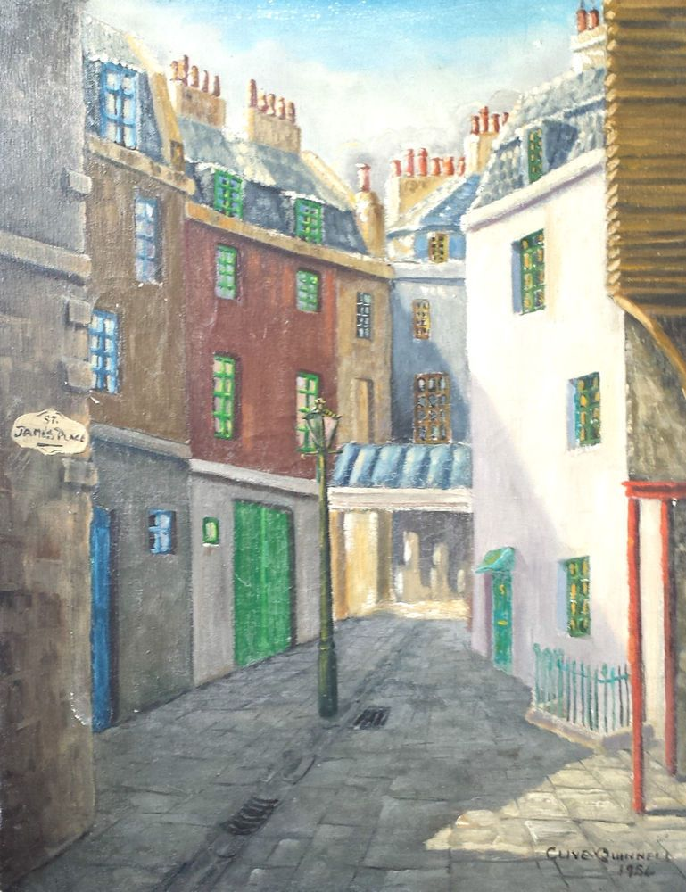 Vintage Oil Canvas Signed C Quinell 1954 Painting Street St James Place London