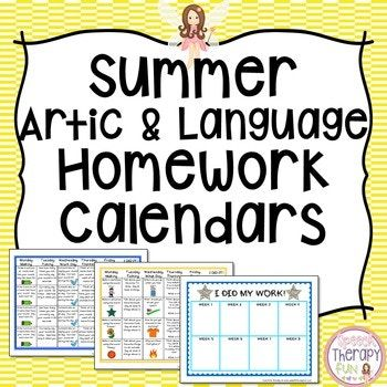 Summer Articulation  Language Homework Calendars  Books Games