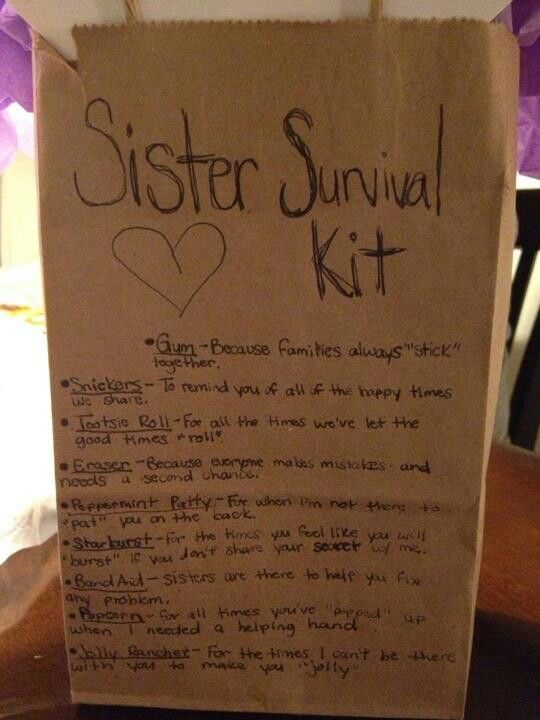 Sister Survival Kit Gifts Diy Birthday For Handmade