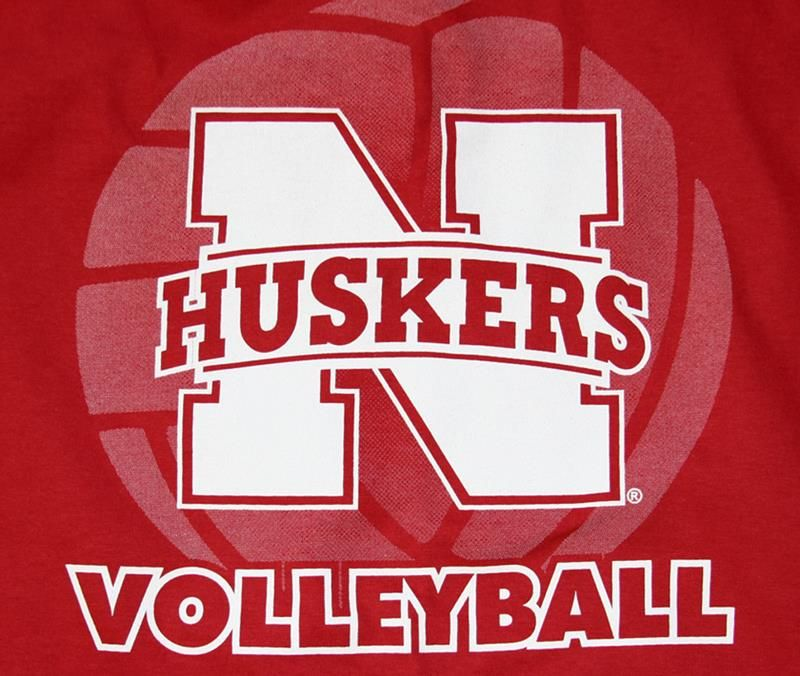 Red L S Volleyball Tee With N Husker Logo Nebraska Cornhuskers Husker Volleyball