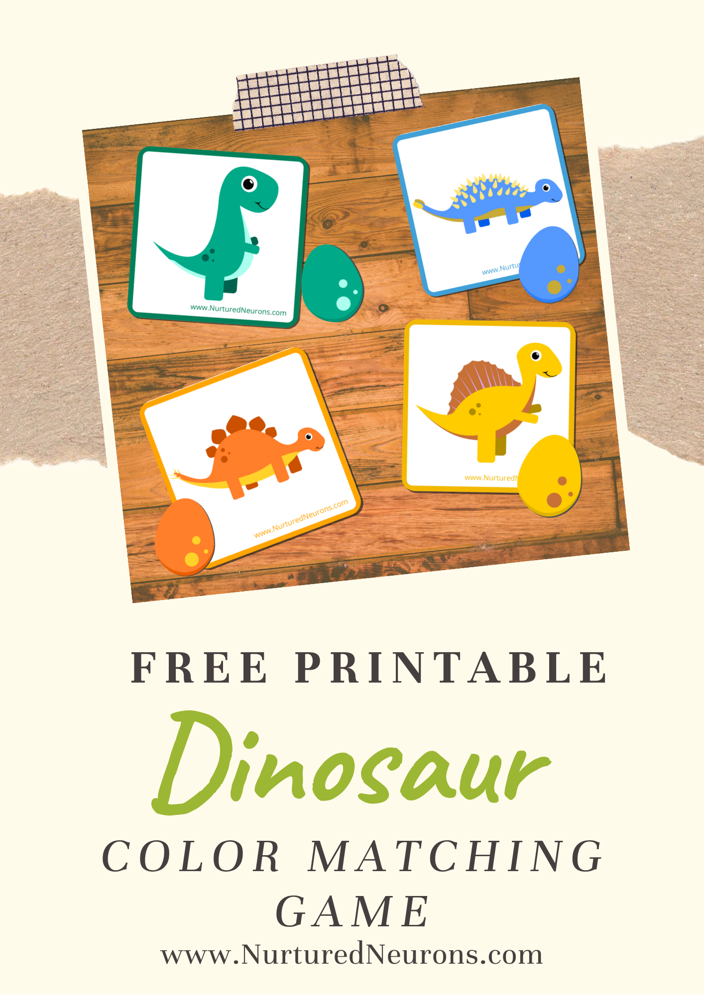 Cute Dinosaur Color Matching Game Free Printable