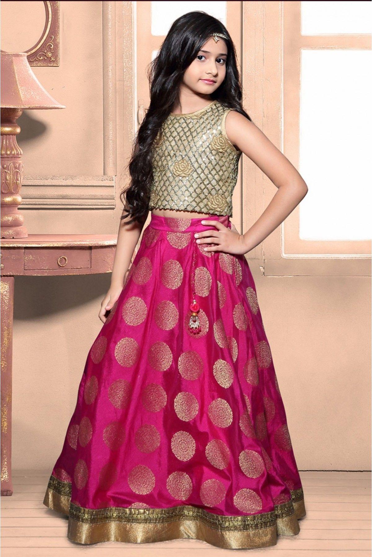 Banarasi and brocade party wear lehenga choli in pink colour