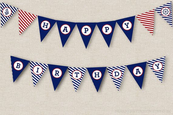 picture regarding Free Happy Birthday Banner Printable Pdf identified as Nautical Birthday Banner, Fast Down load Printable PDF