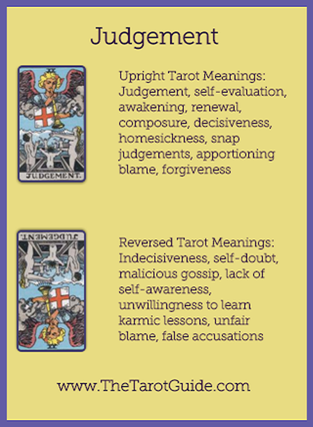 Judgement Tarot Flashcard Upright And Reversed Meaning By The Tarot Guide Major Arcana Free Tarot Reading Reincarnation Wi Tarot Guide Tarot Learning Tarot