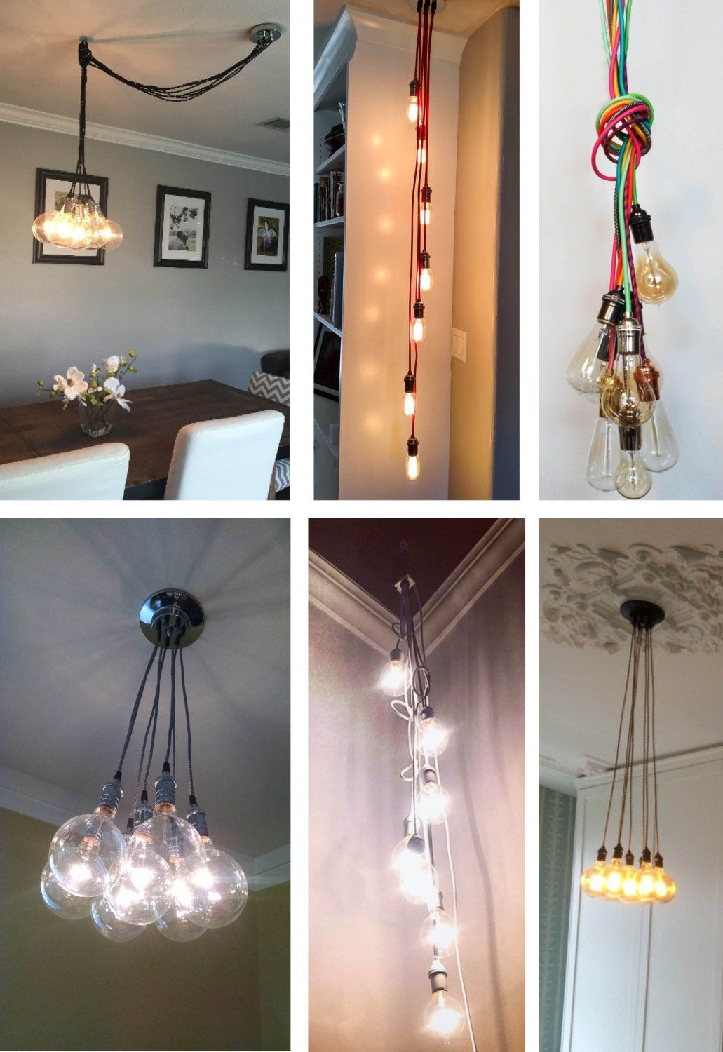 Modern Smoke Grey Led 7 Cluster Custom Any Colors Chandelier Multi Pendant Lighting Modern Cloth Cords Pendant Light Ceiling Fixture Lamp With Images Ceiling Pendant Lights Cluster Pendant Lighting Modern Pendant Light