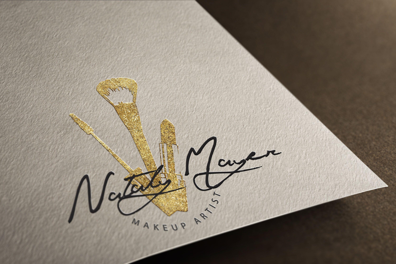 Premade makeup logo, makeup artist, gold glitter logo
