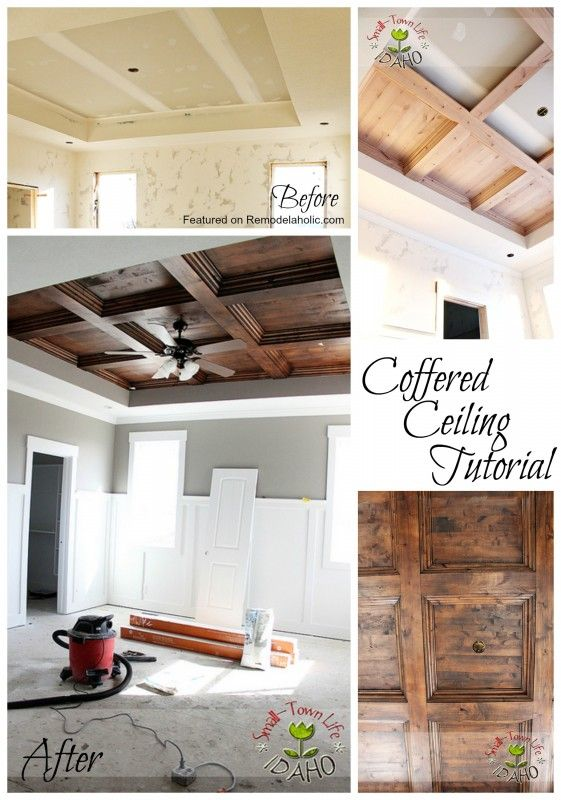 What To Do With Those Wierd Tray Ceilings Coffered Ceiling Tutorial Featured On Remodelaholic