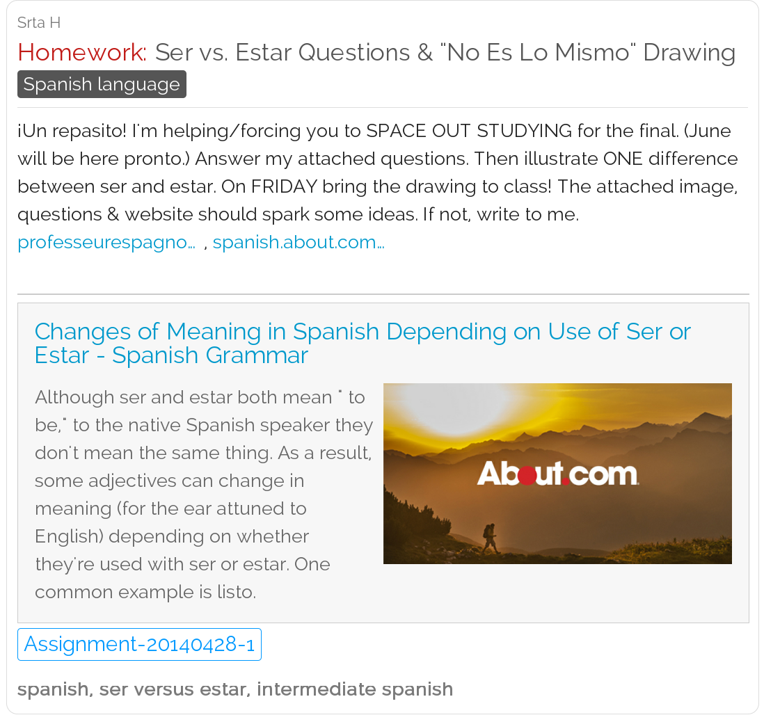 Ser Vs Estar Homework Assignment Make A No Es Lo Mismo