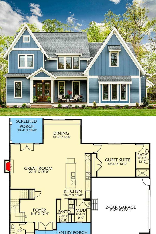 Two Story 4 Bedroom Craftsman House Floor Plan In 2020 Craftsman House Craftsman House Plans Dream House Exterior