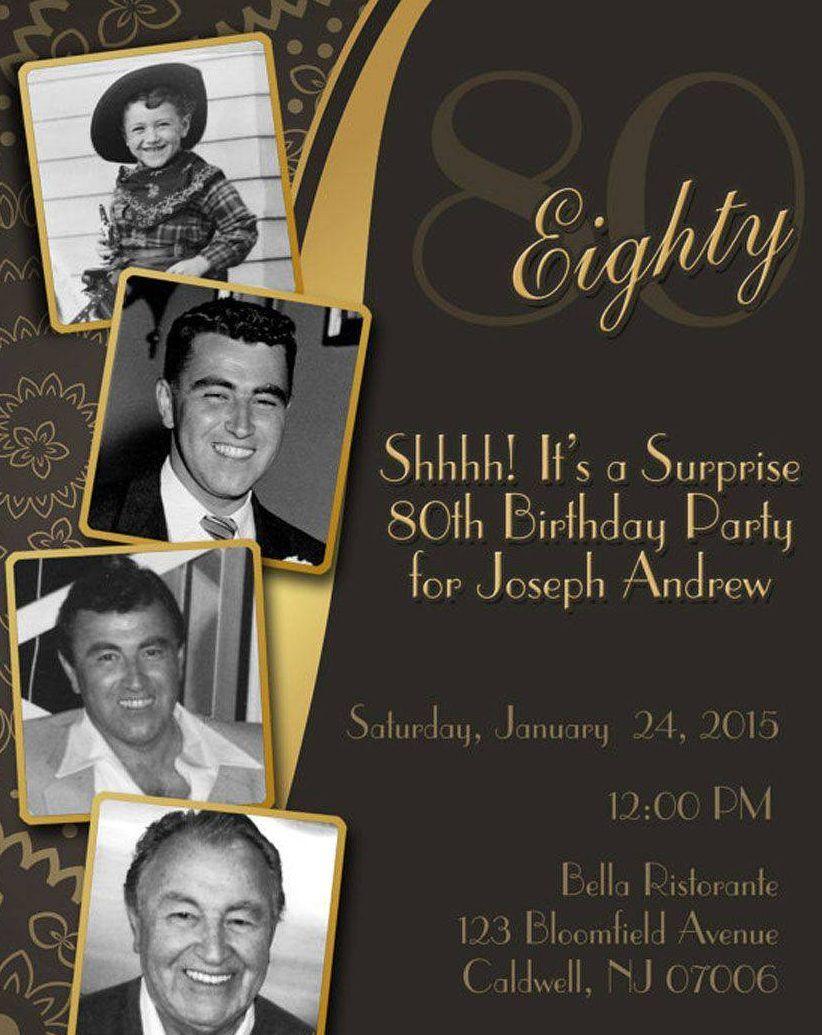 Diy Print Birthday Invites, Adult 80th Birthday Invitation, Surprise ...