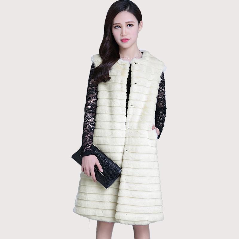 c739cfccc3b88 Nerazzurri Winter Faux Fur V Off White Plus Size Fake Fur Jacket 5Xl 6Xl  Women Striped Sleeveless