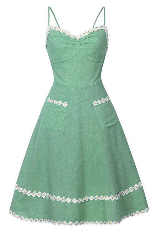 Daisy Applique Pockets Slip Dress Vintage Green Dress Vintage Dresses Summer Dresses For Women