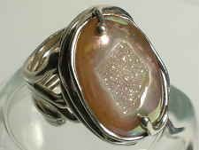 Sterling Silver.925 Size 5 Druzy Stone Organic Style Signed with Pictograph Ring