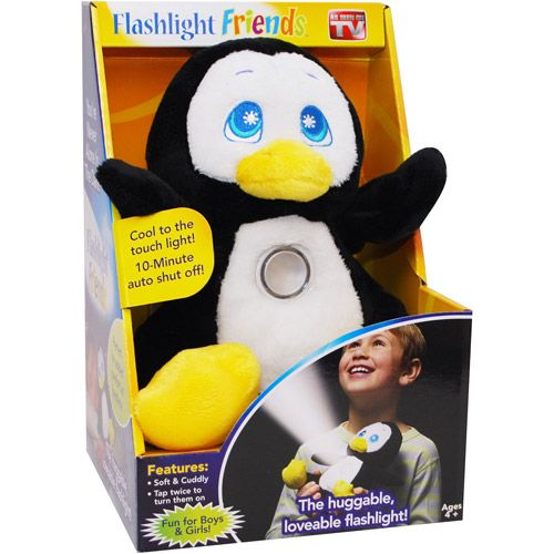 As Seen on TV Flash Light Friends, Penguin (00754502024629) As Seen on TV Flash Light Friends, Penguin: Lights don't get hot Eases fear of the dark Super soft Makes a great cuddle toy LED light lasts for hundreds of hours Flash Light Friends stuffed penguin comes with a 30-day warranty As Seen on TV Flash Light Friends stuffed penguin is recommended for children four years of age and older