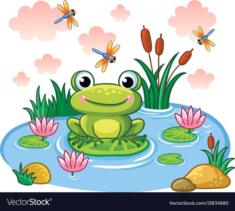 The Frog Sits On A Leaf In The Pond Royalty Free Vector Frog Illustration Frog Art Art For Kids