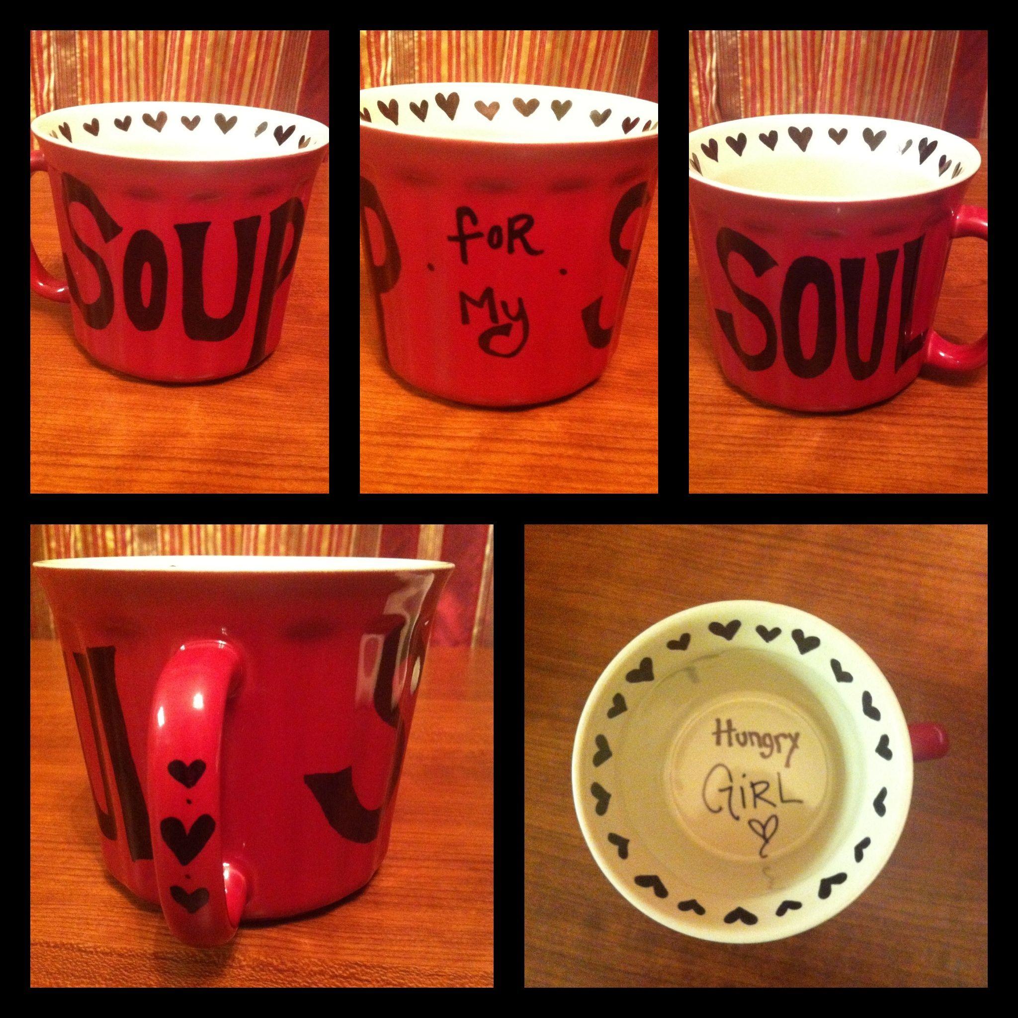 My new soup mug I made <3 Permanent marker.. Bake at 350 degrees for 30 minutes :D