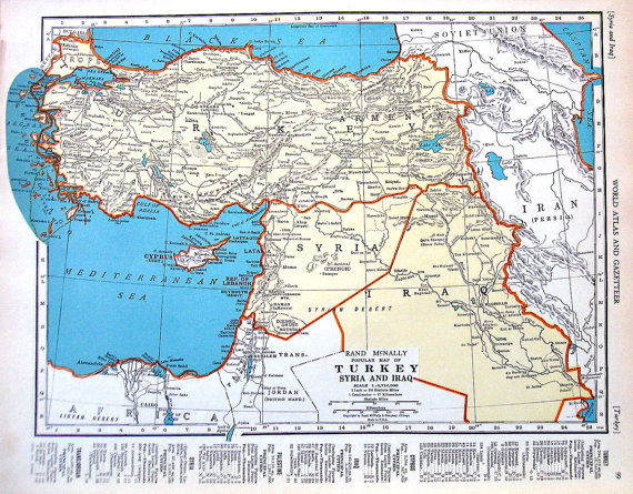 map of turkey syria and iraq map of palestine 1937 vintage rand mcnally