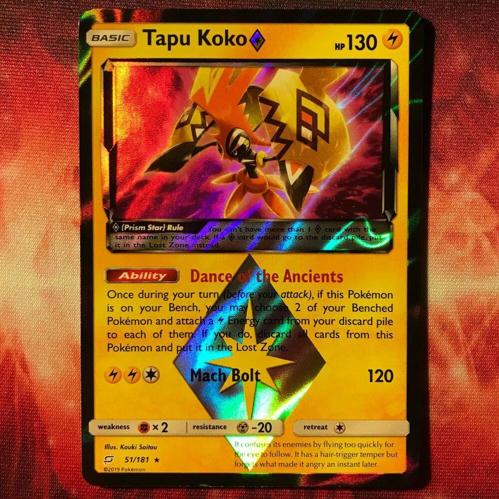 Tapu Koko Prism Holo Rare Sun /& Moon Team Up 51//181 NM