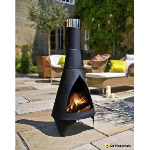 Garden Steel Chimenea With Log Store Contemporary Garden Backyard Fire Chiminea