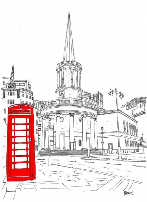 Line Drawing London : London line drawing red phone box dibujos