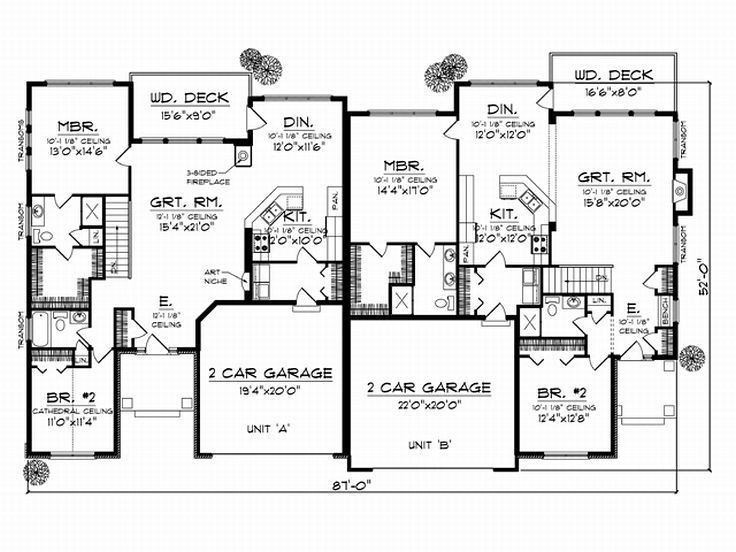Just Mirror The Left Side On The Right Duplex Floor Plans Duplex Plans House Plans One Story