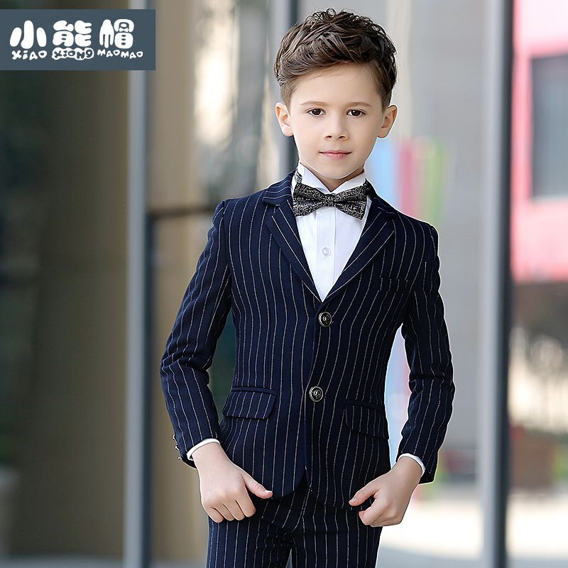 Boy/'s 5 Pc Navy Blue Pinstripe Suit Tuxedo Formal w//Vest Toddler Teen All Sizes