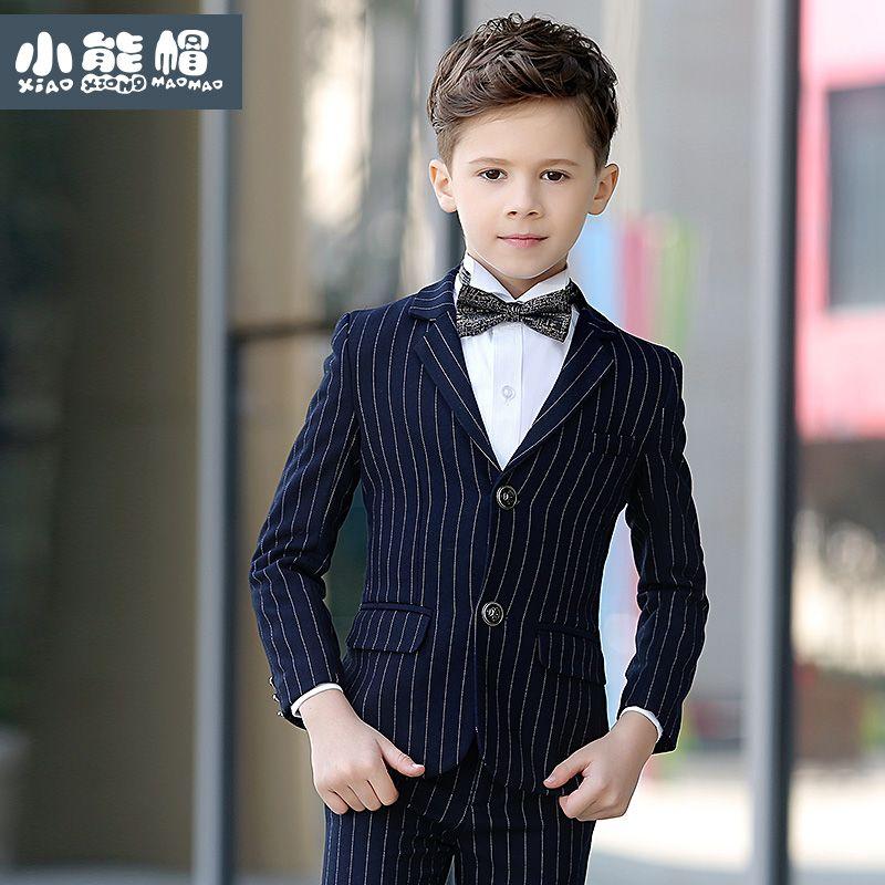 Brand Child Boy Clothing England Style Striped Deep Blue kids boy ...