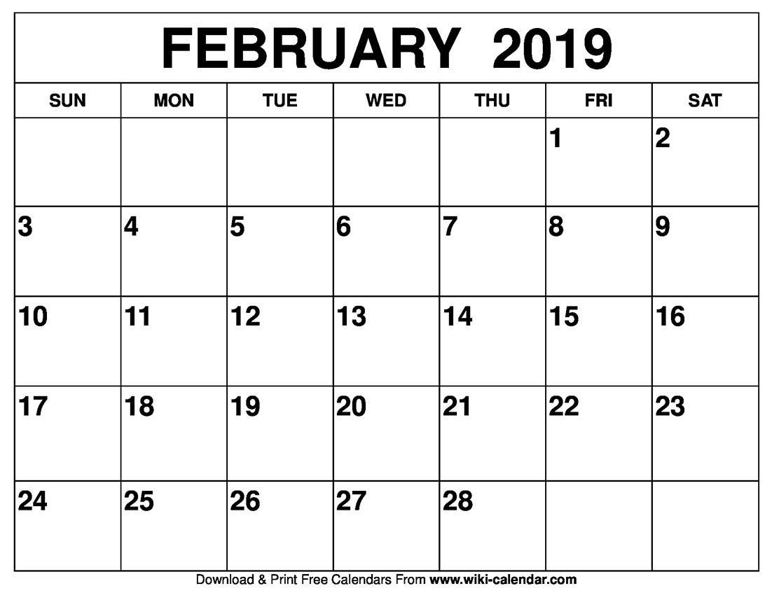 Wiki Calendar Blog Blank February Calendar Printable