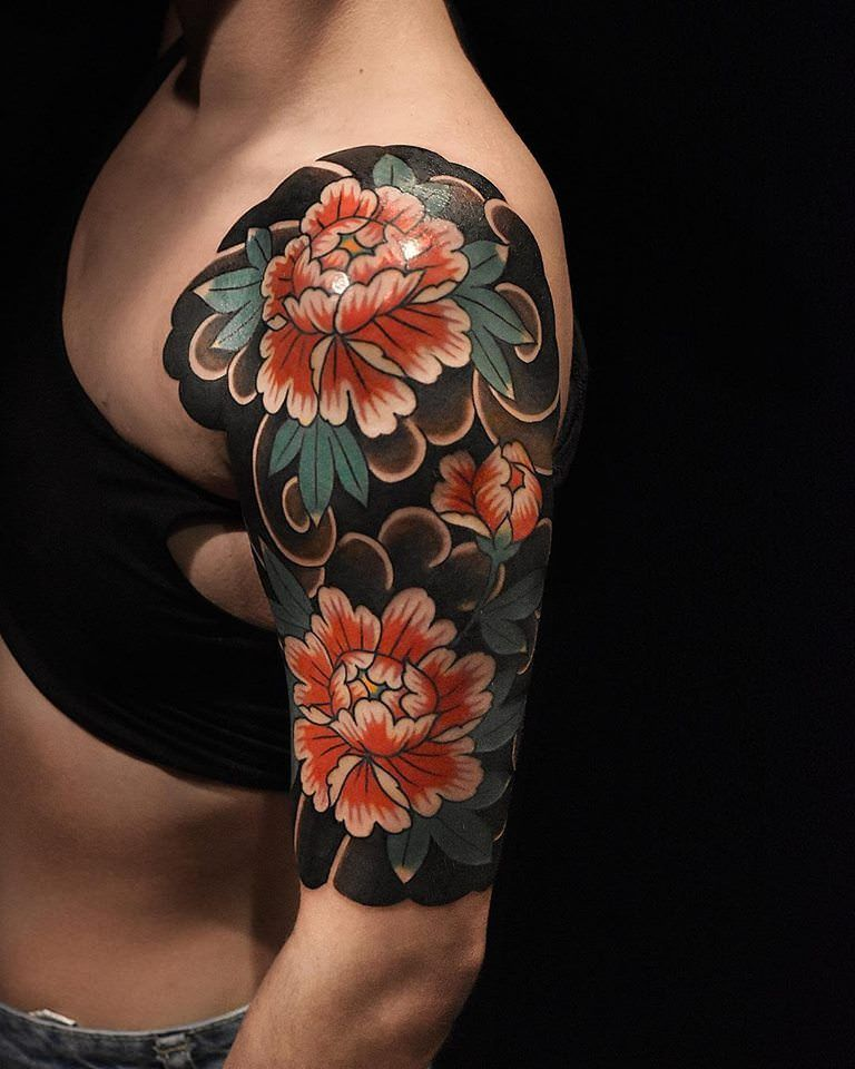 71932dbe2500a Japanese Peony Half Sleeve done by Lucas Franco Sugiyama at Santuário Art  Parlour in Mie, Japan : tattoos