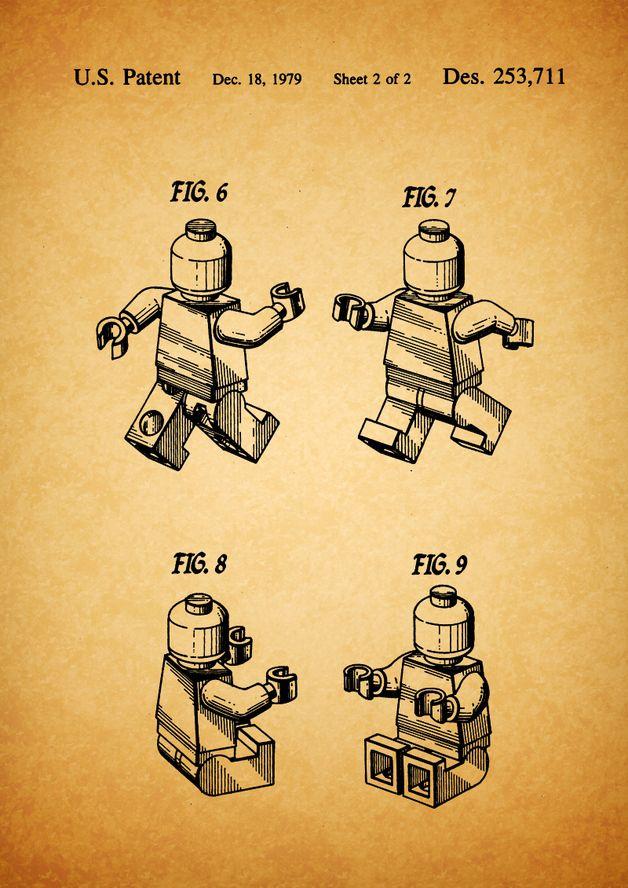 Digitaldruck - Lego Patent, Vintage, Zeichnung, Druck, Print, - ein Designerstück von patente-kunst bei DaWanda