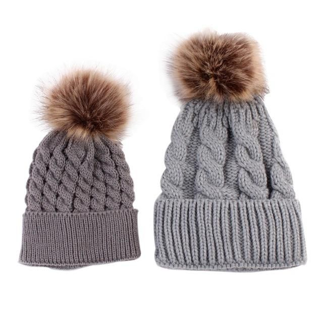 Solid Pompom Ball Kids Crochet Knitted Hat Girl Boy Warm Casual Beanie Ski Cap