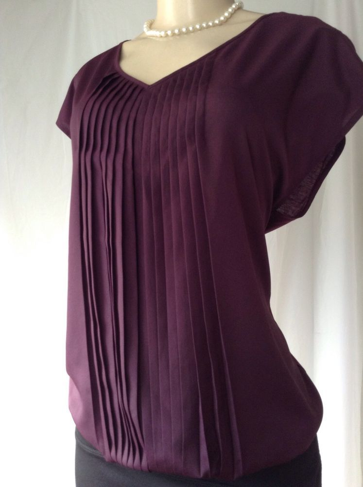 NEW Ann Taylor LOFT Purple Size L Cap Sleeve Pleated front Polyester ...