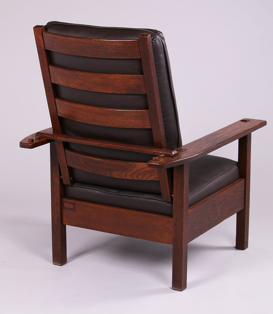 Lujg stickley morris chair signed refinished uh x uw x ud
