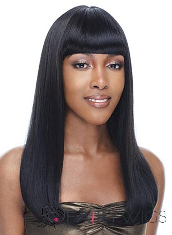 Wig Online Medium Wavy Black Full Bang African American Wigs for Women 18  Inch d337c7de76b5