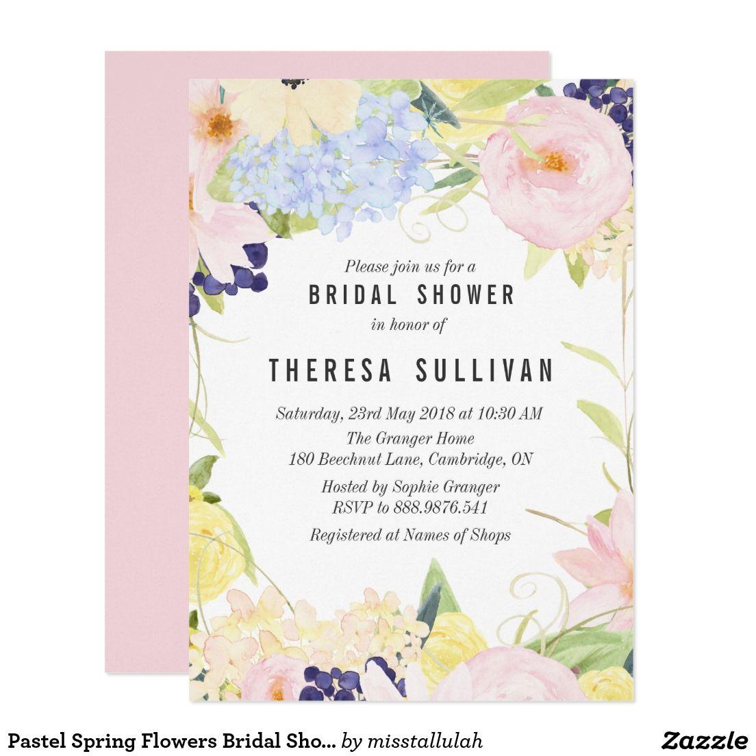 Pastel Spring Flowers Bridal Shower Invitation | Shower invitations ...