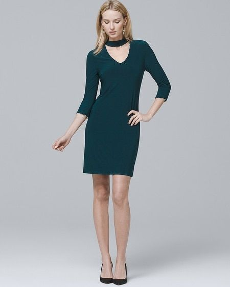 dc1980d4e9 Women s Reversible 3 4-Sleeve Choker Knit Shift Dress by White House Black  Market