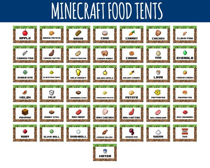 Minecraft food labels minecraft food tents birthday for Cuisine minecraft
