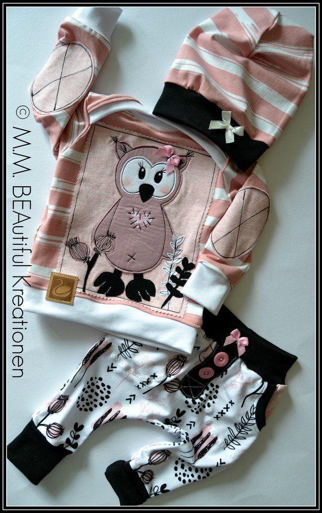 Sets - Baby-Set 3-teilig Hose und Shirt Mütze 62/68 EULE - ein Designerstück von Kreationenbybea bei DaWanda #babyshirts