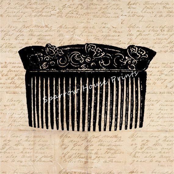Vintage Art Ladies Comb Print Salon Home Decor Antique Wall Art with Aged Script Paper Style Background No.1395 B9 8x8 8x10 11x14 @ sparrowhouseprints.etsy.com