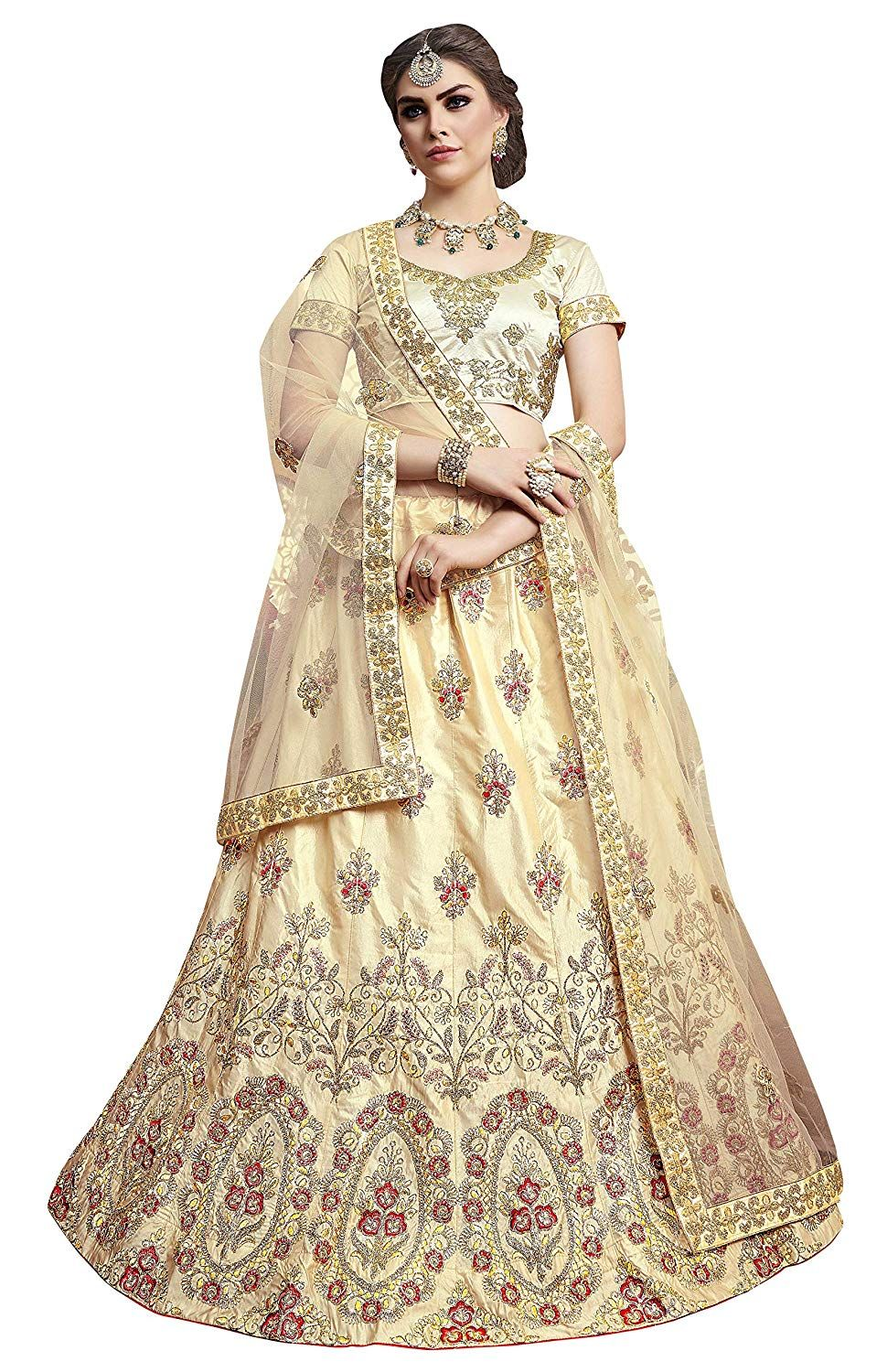 71d33483eb Manvaa Women'S Silk Embroidered Lehenga Choli In Beige Color: Amazon.in:  Clothing & Accessories