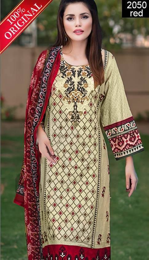 Wyss 2050 Red Full Front Embroidered Designer 3pc Lawn Suit With