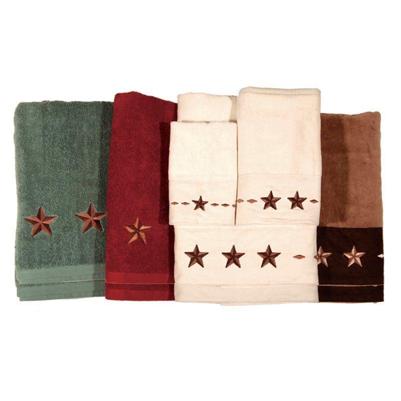HiEnd Accents Embroidered Star 3 Piece Bath Towel Set Mocha - TW2010-OS-MC