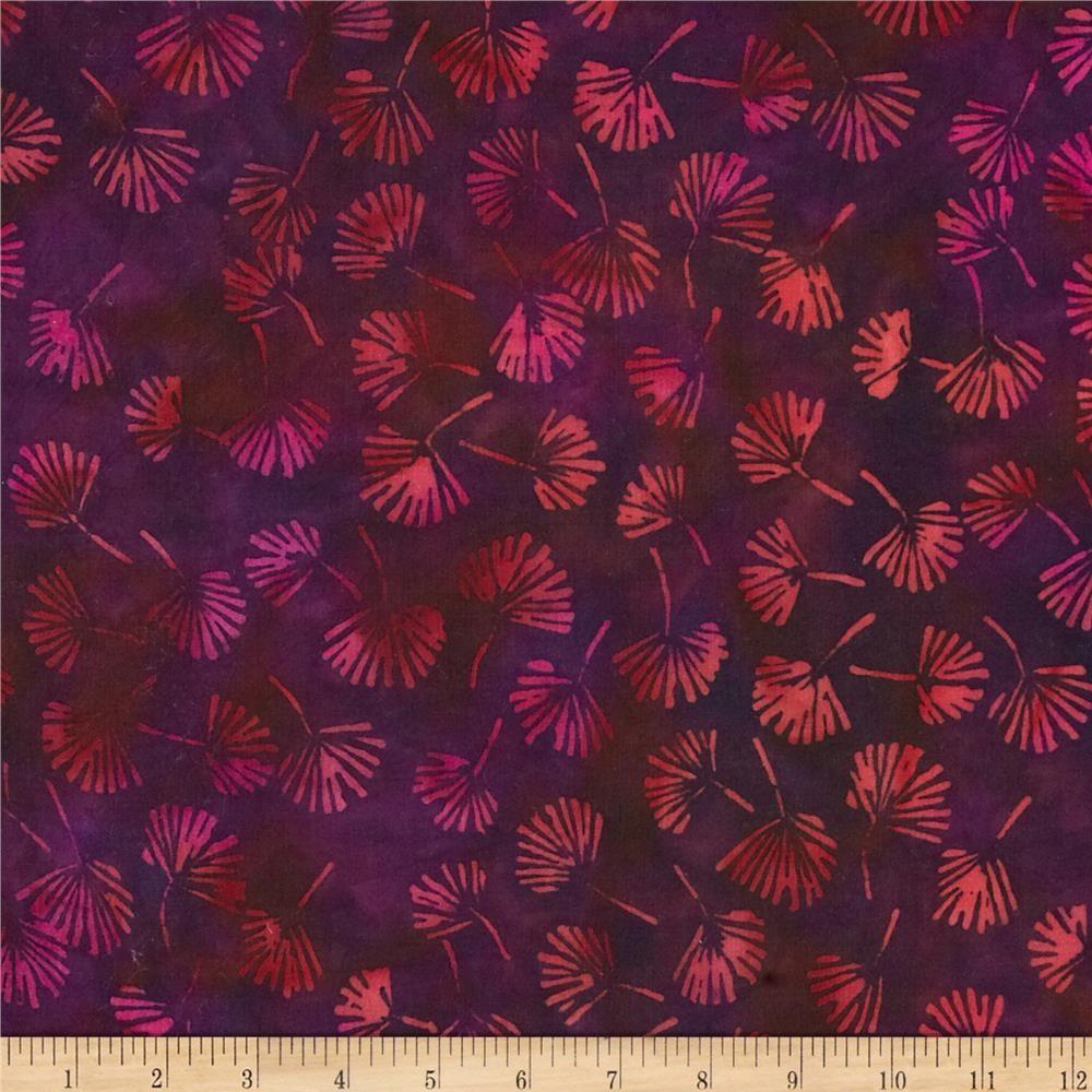 Island Batik Rayon Batik Burgundy Blooms Purple
